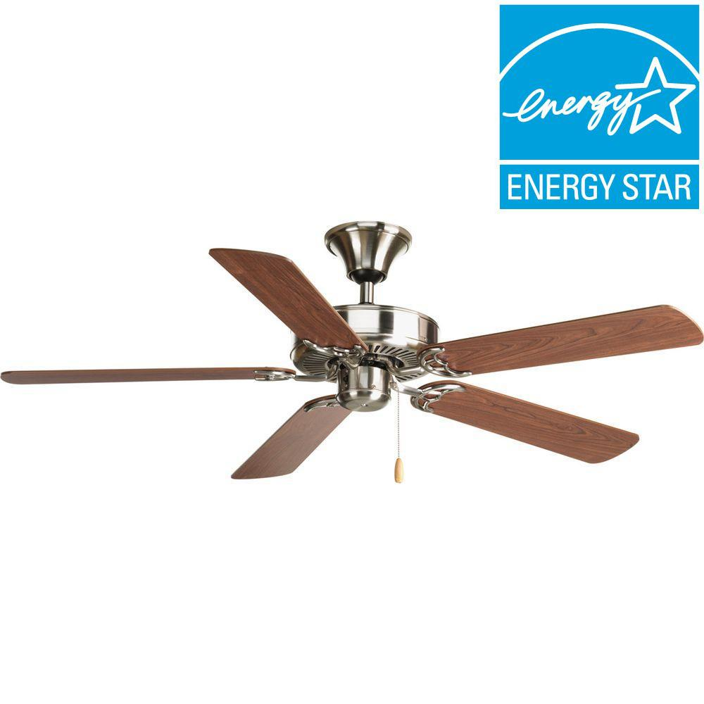 Progress Lighting AirPro Builder 52 in. Brushed Nickel Ceiling Fan