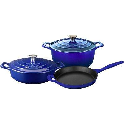 5-Piece Enameled Cast Iron Cookware Set with Saute, Skillet and Round Casserole in High Gloss Sapphire