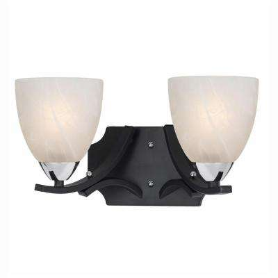 Athens 2-Light Black with Chrome Accents Bath Vanity Light