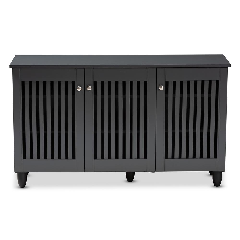 Fernanda 26 in. H x 44 in. W 12-Pair Dark Gray Wooden Shoe Storage Cabinet