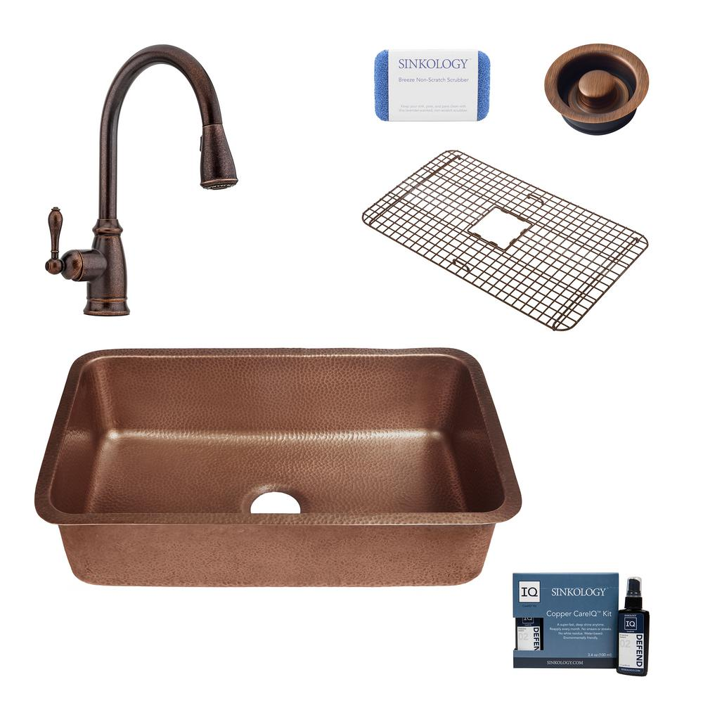 SINKOLOGY Orwell All-In-One Undermount Copper 30 in. Single Bowl Kitchen Sink with Pfister Rustic Bronze Faucet and Drain