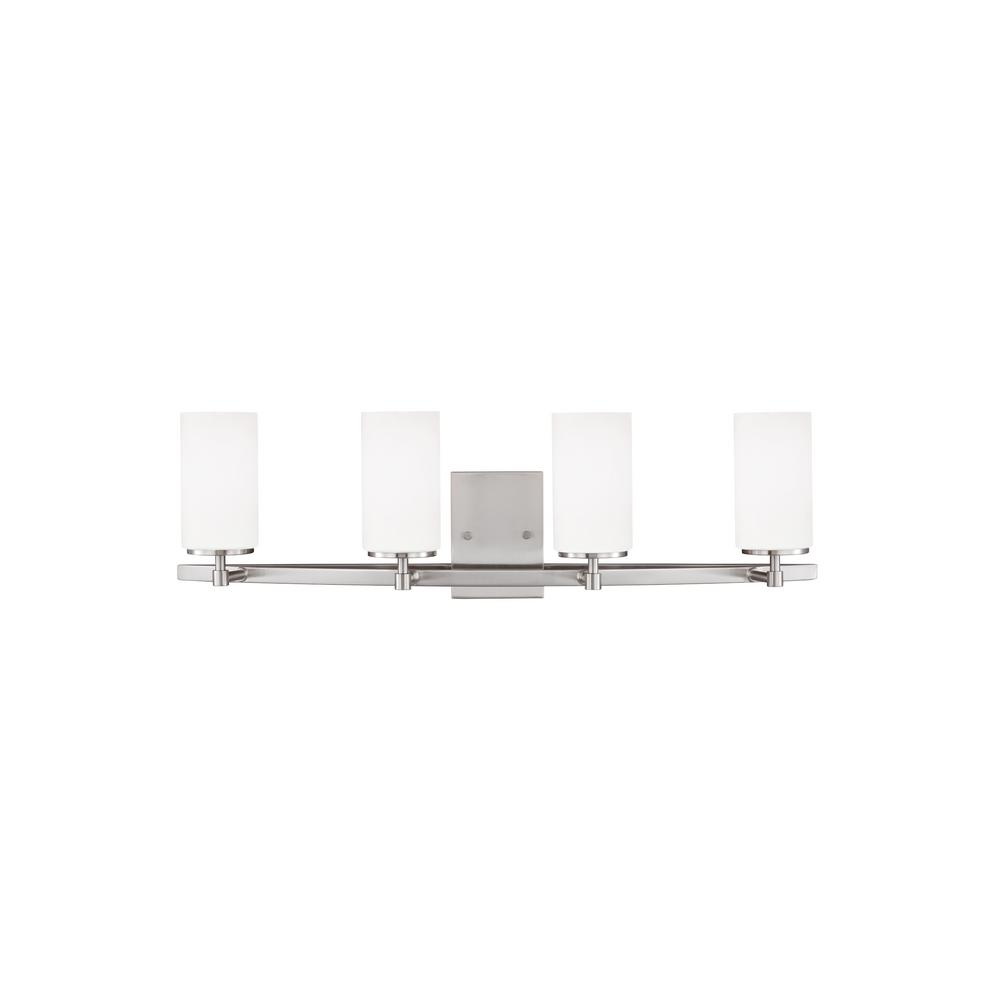 Sea Gull Lighting 44237 962 3 Light Brushed Nickel Bathroom Vanity Wall Fixture: Sea Gull Lighting Visalia 4-Light Brushed Nickel Bath Light-4825904-962