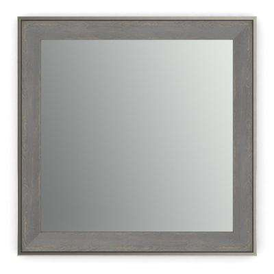 33 in. x 33 in. (L2) Square Framed Mirror with Standard Glass and Easy-Cleat Flush Mount Hardware in Weathered Wood