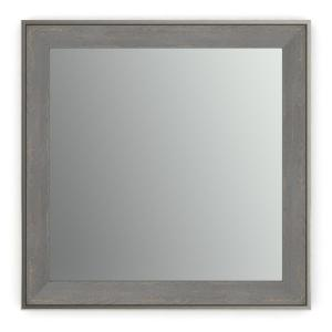 33 in. W x 33 in. H (L2) Framed Square Standard Glass Bathroom Vanity Mirror in Weathered Wood