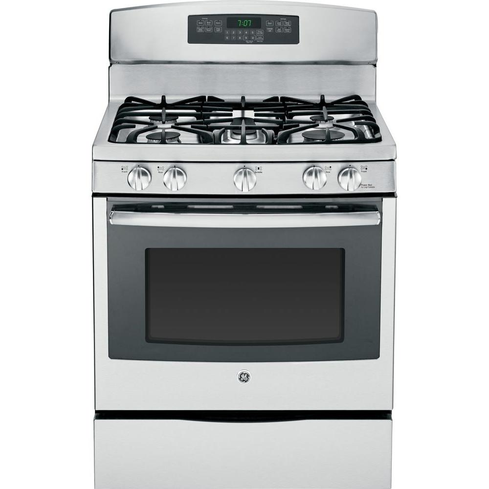 GE 5.6 cu. ft. Gas Range with Self-Cleaning Convection Oven in Stainless Steel
