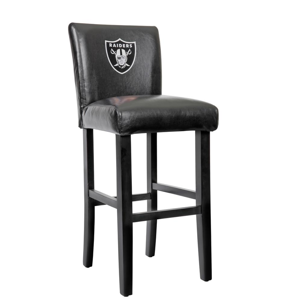 Oakland Raiders 30 in. Black Bar Stool with Faux Leather Cover