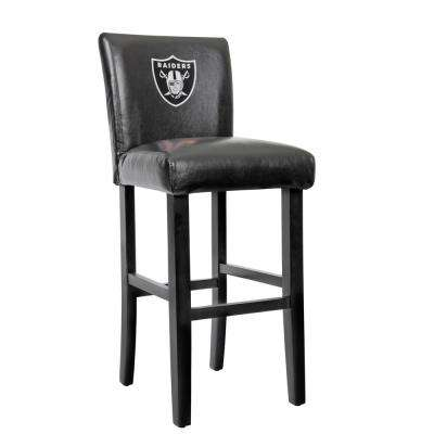 Oakland Raiders 30 in. Black Bar Stool with Faux Leather Cover (Set of 2)