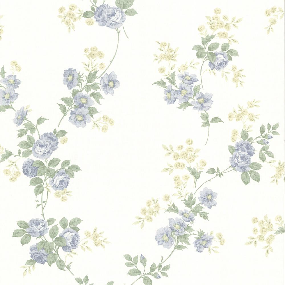 56.4 sq. ft. Falk Blue Rose Trail Wallpaper