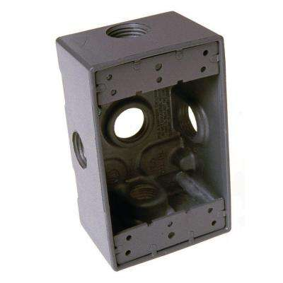 1-Gang 5-Outlets 1/2 in. Threaded Weatherproof Box, Gray