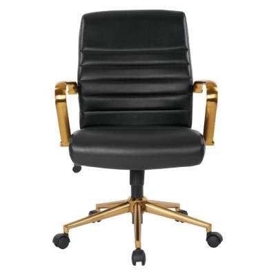 Mid-Back Black Faux Leather Chair with Gold Arms and Base