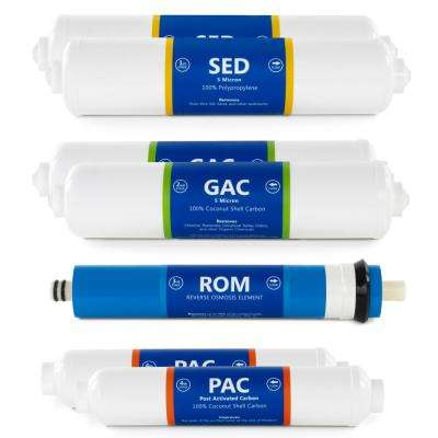 1 Year Countertop RO System Replacement Filter Set 7 Filters Quick Connect 6 Inline Cartridges w/ 100 GPD RO Membrane