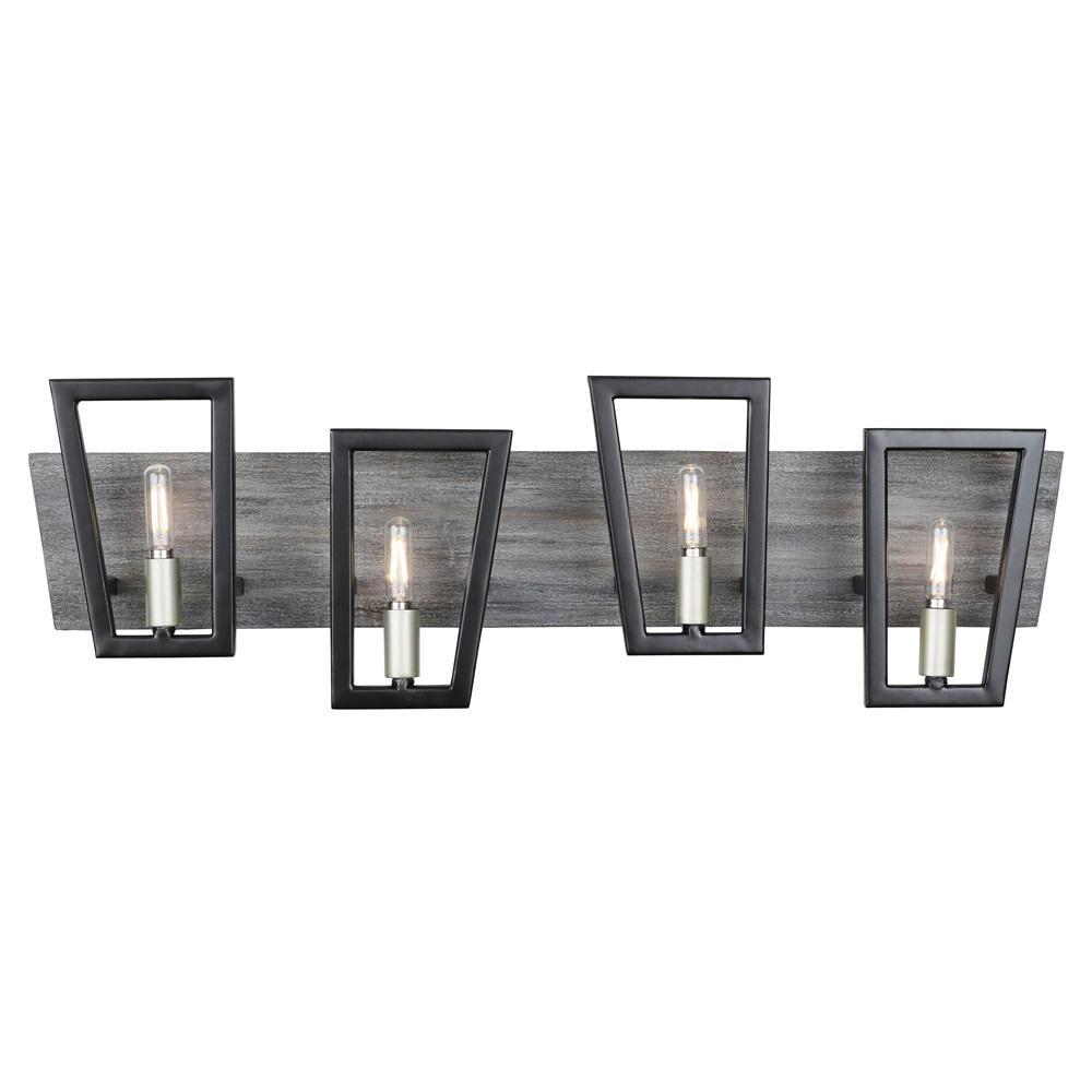 Zag 4-Light Black and Silverado Bath Light