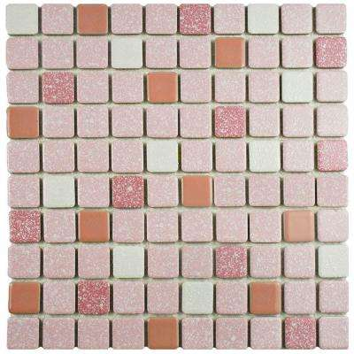 Crystalline Square Pink 11-3/4 in. x 11-3/4 in. x 5 mm Porcelain Mosaic Tile