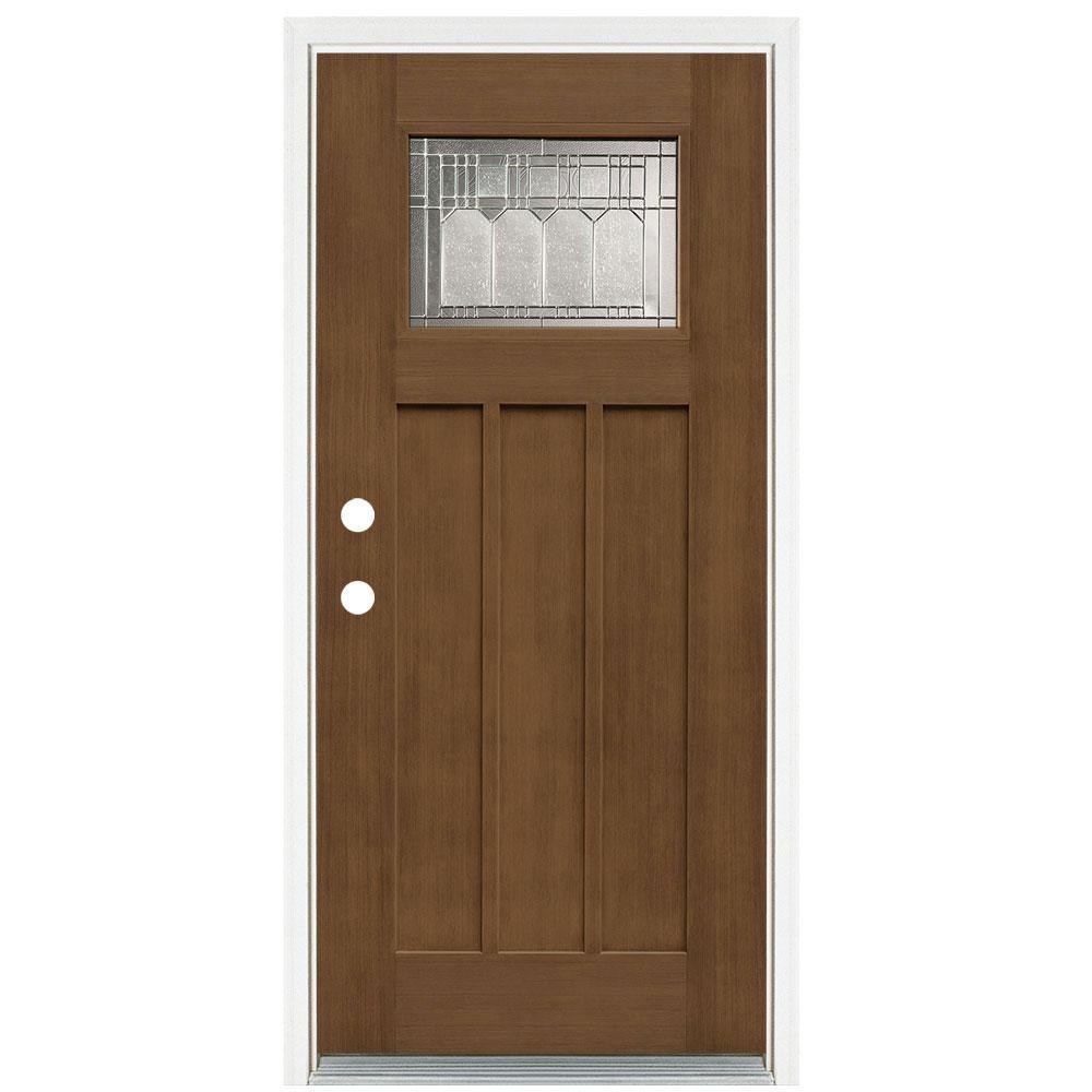 36 in. x 80 in. Medium Oak Right-Hand Inswing 1-Lite Vintage Classic Craftsman Stained Fiberglass Prehung Front Door