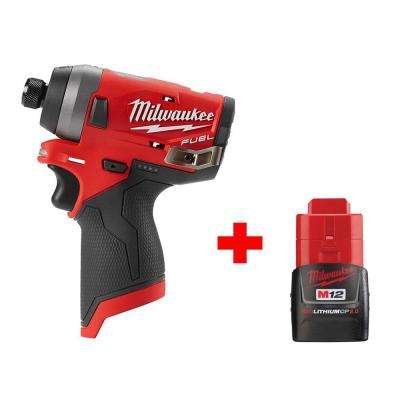 M12 FUEL 12-Volt Lithium-Ion Brushless Cordless 1/4 in. Hex Impact Driver with Free M12 2.0Ah Battery