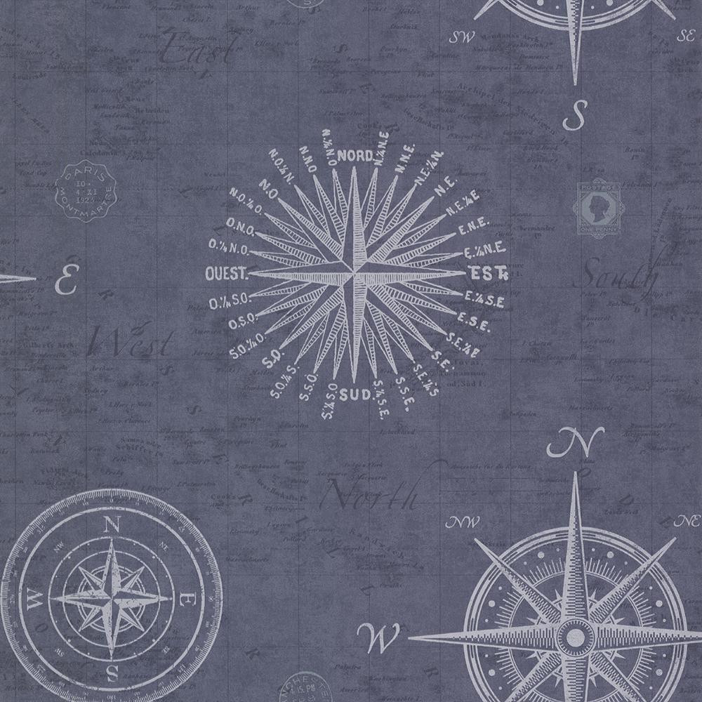 56.4 sq. ft. Navigate Ocean Vintage Compass Wallpaper