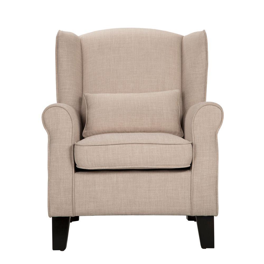 HomeSullivan Pradera Oatmeal Linen Wing Back Arm Chair