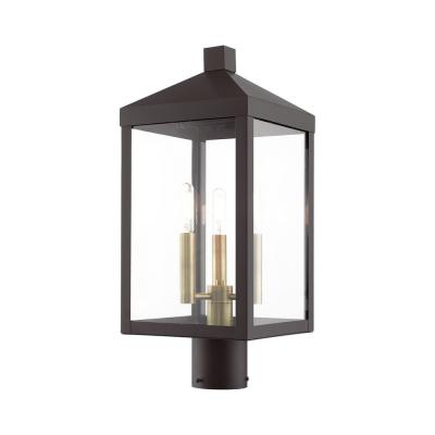 Nyack 3-Light Bronze Outdoor Post Top Lantern with Clear Glass Shade