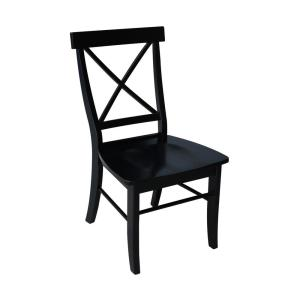 Black Wood X Back Dining Chair (Set of 2)