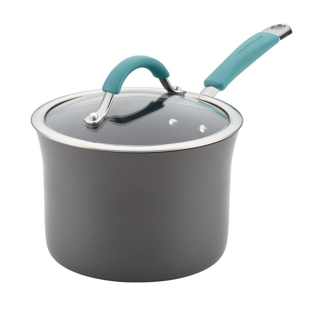 3 Qt. Agave Blue Cucina Hard Porcelain Enamel Non-Stick Covered Saucepan
