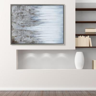 Iceberg Textured Metallic Hand Painted by Martin Edwards Framed Abstract Canvas Wall Art