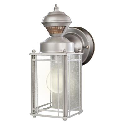 Shaker Cove Mission 150° Silver Motion Sensing Outdoor Wall Mount Lantern Sconce