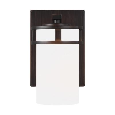 Robie 5 in. 1-Light Burnt Sienna Vanity Light with Etched/White Inside Glass Shades
