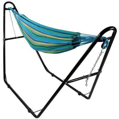 10.5 ft. Fabric Cotton Double Brazilian Hammock with Multi-Use Universal Stand in Sea Grass