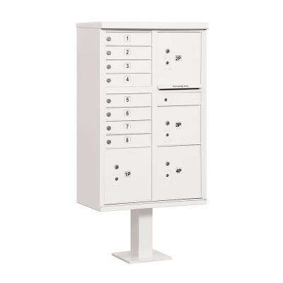 8 A Size Doors, 4 Parcel Lockers and Pedestal USPS Access Cluster Box Unit in White