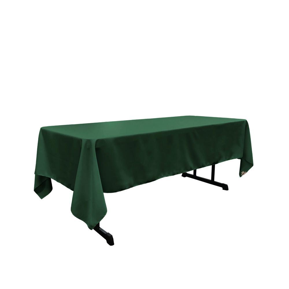 Polyester Poplin 60 in. x 120 in. Hunter Green Rectangular Tablecloth