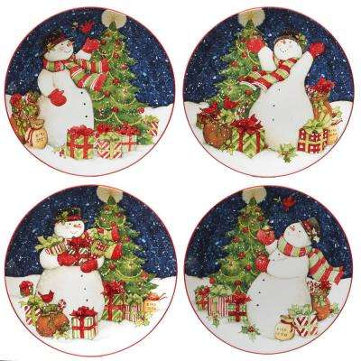 Starry Night Snowman by Susan Winget 11 in. Dinner Plate (Set of 4)