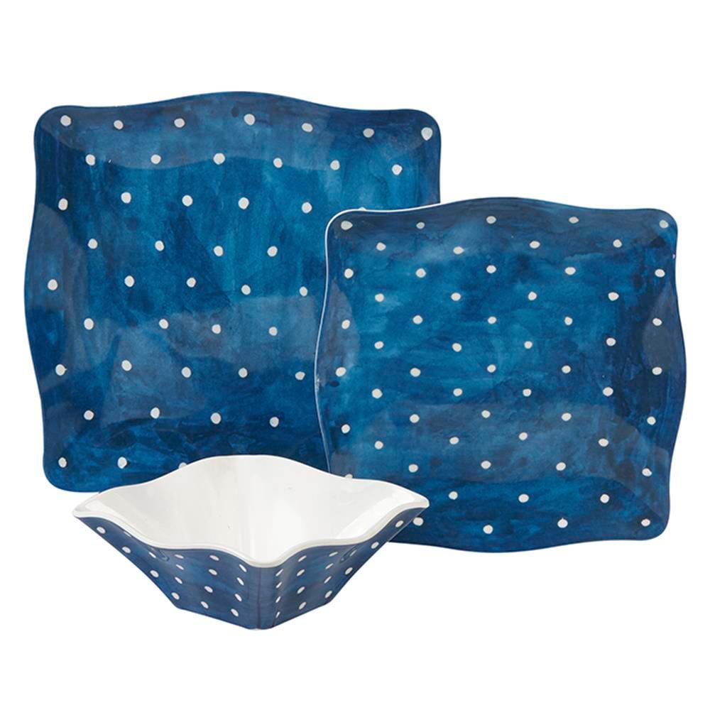 Pallini 12-Piece Traditional Blue Melamine Outdoor Dinnerware Set (Service for 12)
