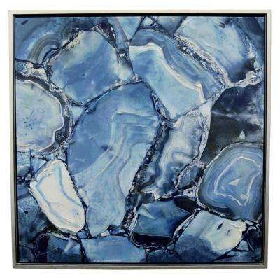 31.5 in. x 31.5 in. Canvas Painting with Frame-Lacquer in Blue Wall Art