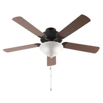 52 in. Rubbed Oil Bronze Ceiling Fan with Light