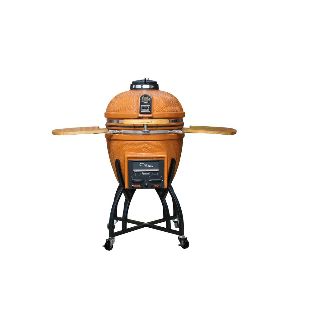 Vision Grills Kamado Professional Ceramic Charcoal Grill in Orange with Grill Cover