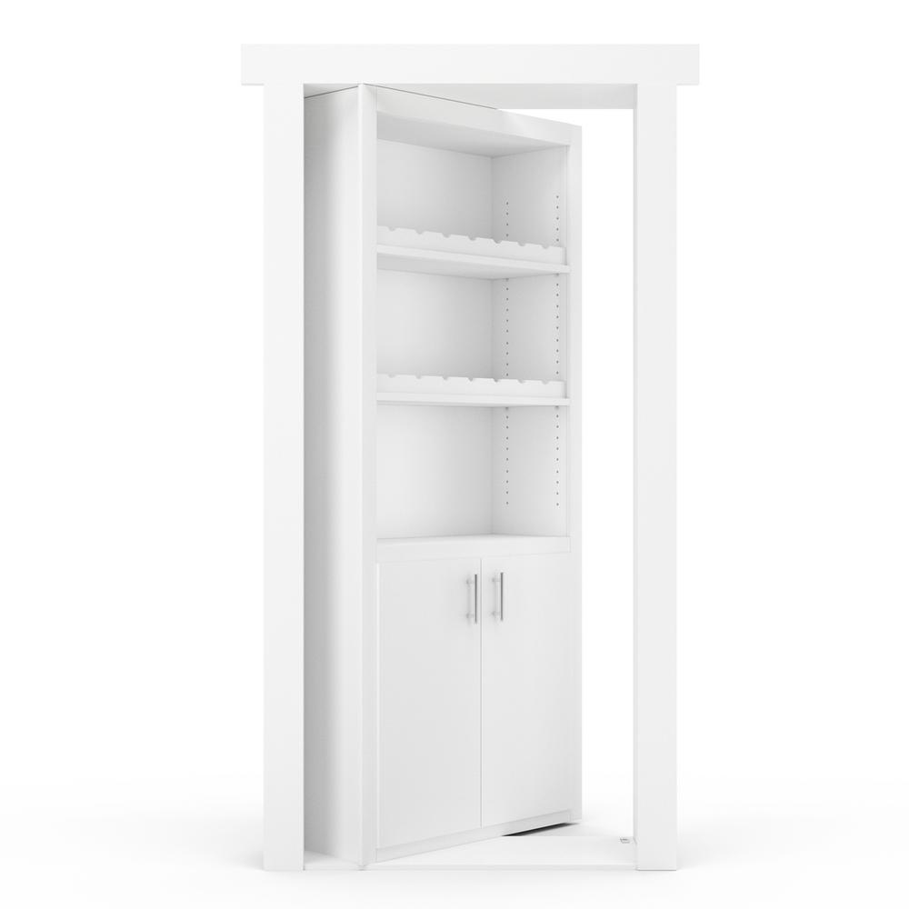 The Murphy Door 36 in. x 80 in. Flush Mount Assembled Paint Grade White Left-Hand Inswing Wine Rack Door
