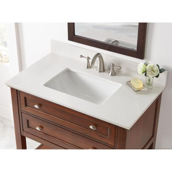 Home Decorators Collection 37 In W X 22 In D Engineered Marble Vanity Top In Snowstorm With White Single Trough Sink 37203 The Home Depot