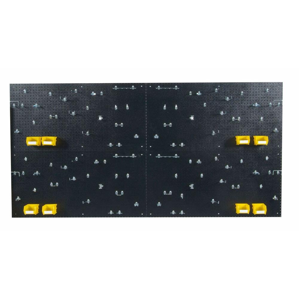 9/32 in. Hole Size (4) Black Polyethylene Pegboards Matte Front Finish