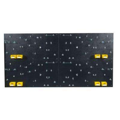 9/32 in. Hole Size (4) Black Polyethylene Pegboards Matte Front Finish with Kit