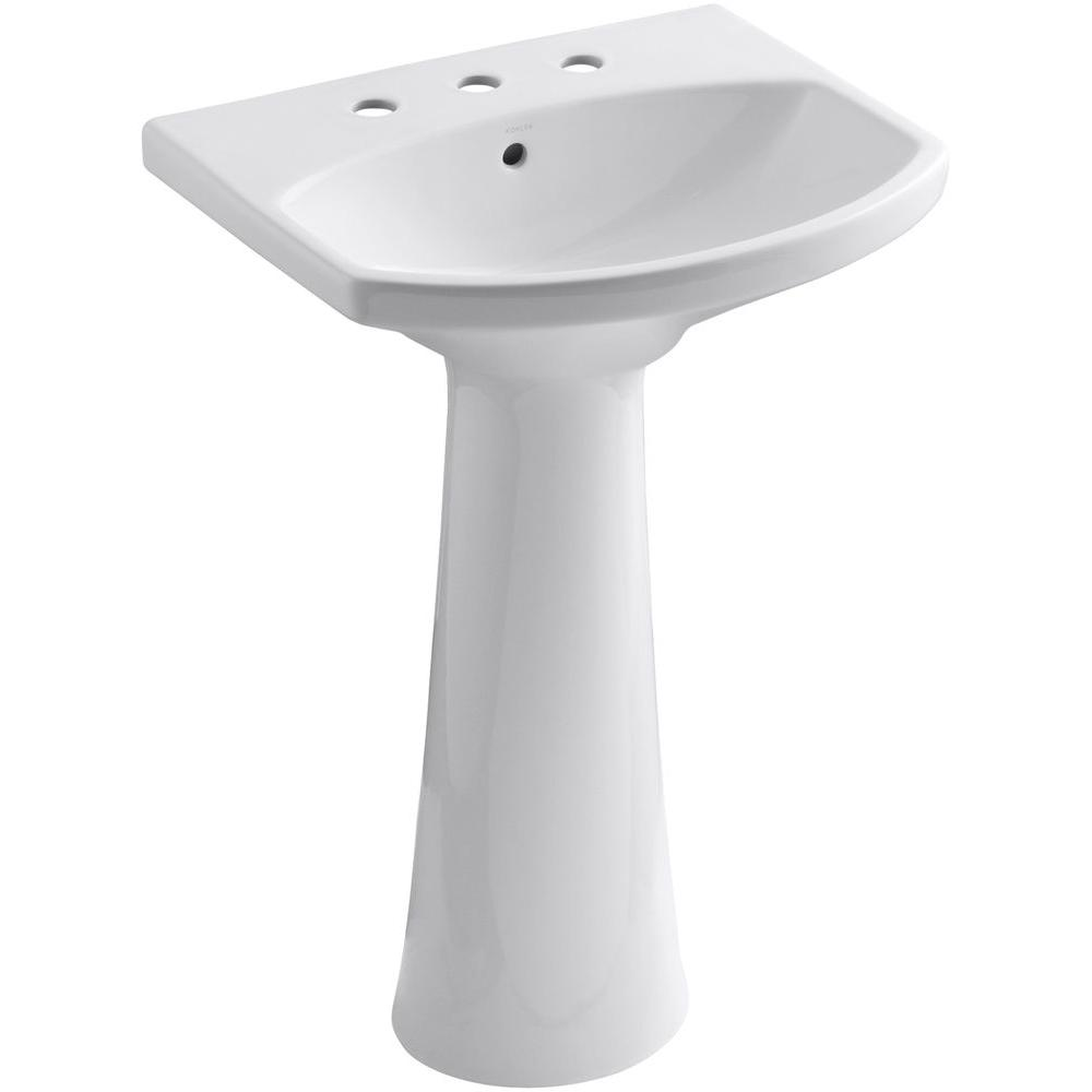 Kohler Cimarron 8 In Widespread Vitreous China Pedestal Combo Bathroom Sink In White With Overflow Drain K 2362 8 0 The Home Depot