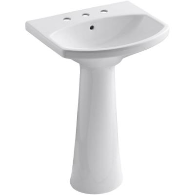 Cimarron 8 in. Widespread Vitreous China Pedestal Combo Bathroom Sink in White with Overflow Drain