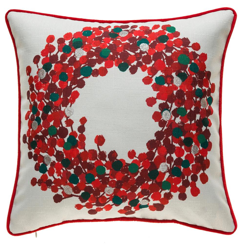 Home Accents Holiday Red Berry Wreath Decorative Pillow