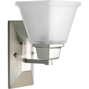 North Park Collection 1 Light Brushed Nickel Wall Sconce With Etched Glass