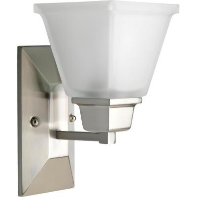 North Park 1-Light Brushed Nickel Wall Sconce with Etched Glass