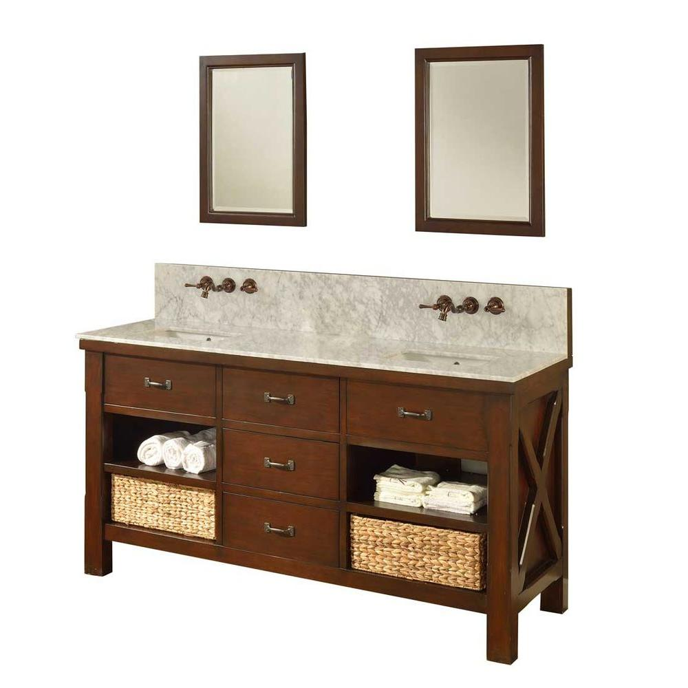 Direct vanity sink Xtraordinary Spa Premium 70 in. Double Vanity in Dark Brown with Marble Vanity Top in Carrara White and Mirrors