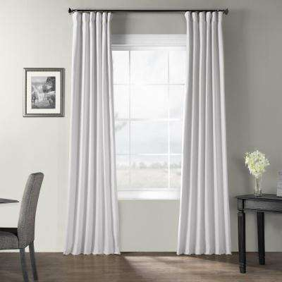 Ultra White Bark Weave Solid Cotton Curtain - 50 in. W x 84 in. L