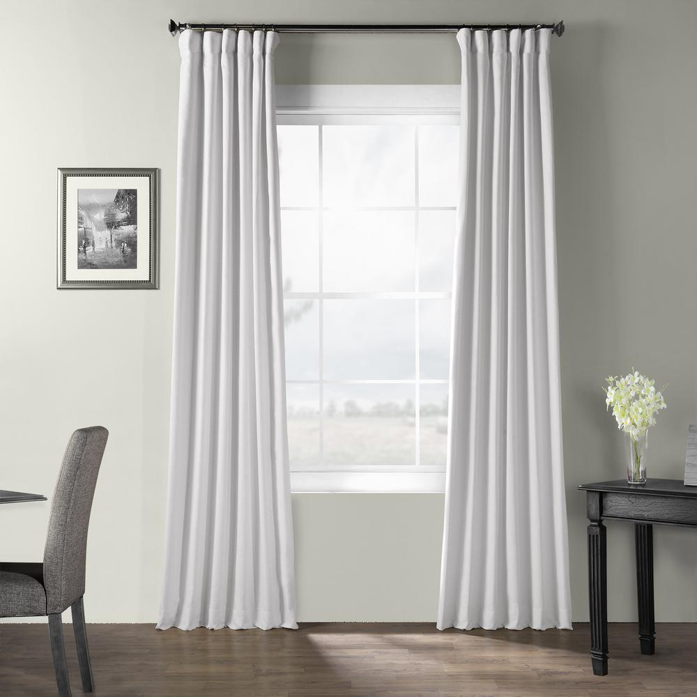 Exclusive Fabrics & Furnishings Ultra White Bark Weave Solid Cotton Curtain - 50 in. W x 120 in. L