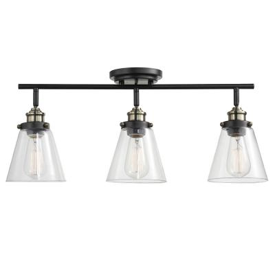 Jackson 2 ft. 3-Light Dark Bronze Track Lighting Kit with Clear Glass Shades