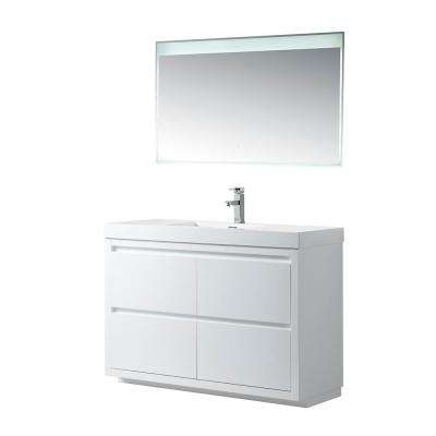 Annecy 48 in. W x 18.5 in. D x 32 in. H Bathroom Vanity in White with Single Basin Top in White Resin