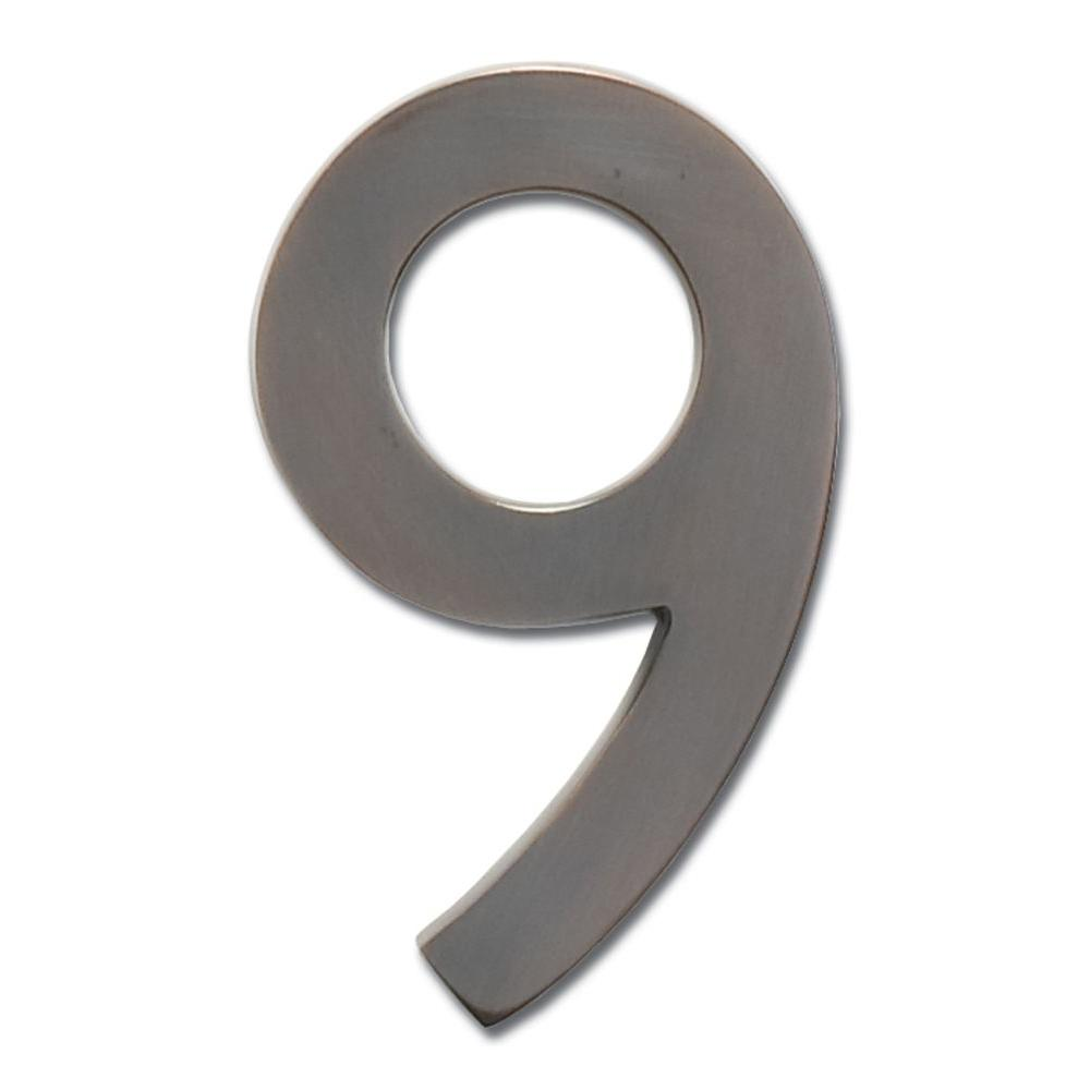 4 in. Dark Aged Copper Floating House Number 9